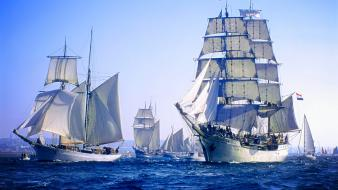 Ocean ships sailing sea wallpaper