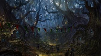 Paintings forests fantasy art town magic goblins artwork wallpaper