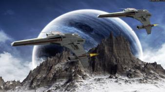 Planets spaceships science fiction sci-fi wallpaper