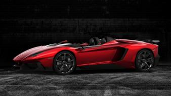 Red cars lamborghini aventador exotic side j wallpaper