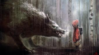 Red riding hood artwork fairytales wolves children wallpaper