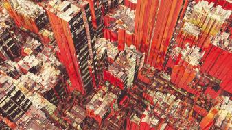 Red skyscrapers rooftops skyscapes cities futuristic city wallpaper