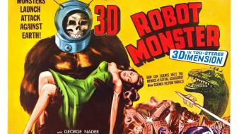 Robots dinosaurs retro movie posters horror movies wallpaper
