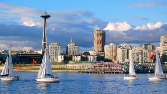 Sail ship space needle cities tv towers wallpaper