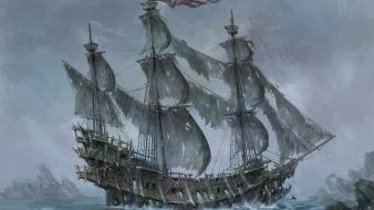 Ships flying dutchman artwork sail ship sailing wallpaper