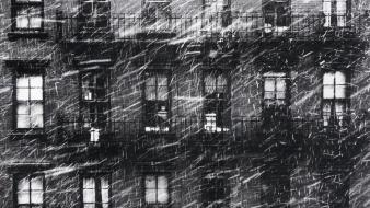Snow houses grayscale old photography windows paul himmel wallpaper