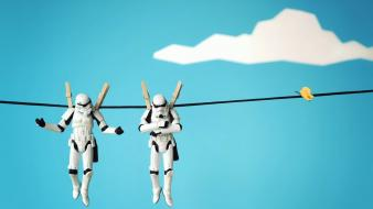 Star wars clouds artistic stormtroopers hanging butterflies skies wallpaper