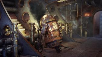Star wars futuristic r2d2 droids artwork steam punk wallpaper