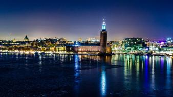 Stockholm cities city lights cityscapes night wallpaper