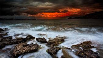 Storm front clouds landscapes sea shorelines wallpaper