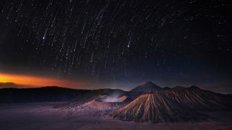 Sunset landscapes stars volcanoes night sky wallpaper