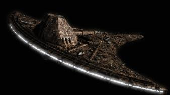 Universe spaceships science fiction black background sci-fi wallpaper