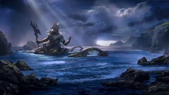 War poseidon mythology trident gods game ascension wallpaper