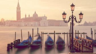 Water boats church cathedral blurred gondolas cities wallpaper