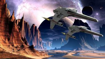 Water stars planets spaceships science fiction sci-fi wallpaper