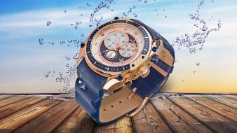 Water wood splashes watch man made wallpaper