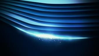 Abstract blue digital art minimalistic waves wallpaper