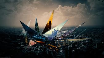 Abstract cities clouds digital art geometry wallpaper