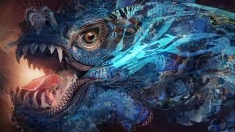 Abstract creatures artwork chinese dragon wallpaper