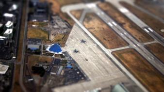 Aircraft cityscapes airports planes tilt-shift wallpaper