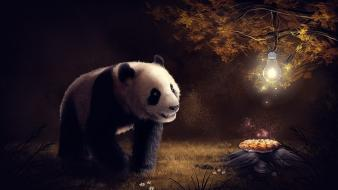 Animals lamps panda bears artwork bulbs bulb wallpaper