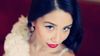 Asians wedding faces bridal inspiration red lips Wallpaper