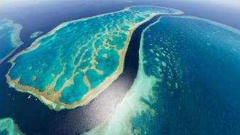 Australia great barrier reef aerial view beaches landscapes wallpaper