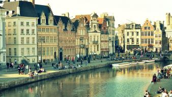 Belgium ghent cities cityscapes wallpaper