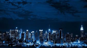 Blue cityscapes night lights cities neon wallpaper