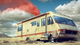 Breaking bad caravan chairs clouds deserts wallpaper