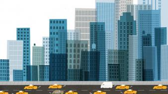 Buildings cars cityscapes digital art skyscrapers wallpaper