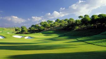 Bunker golf course grass green wallpaper