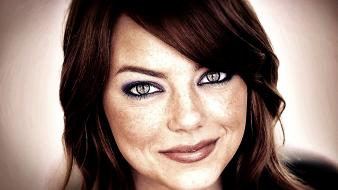 Celebrity emma stone smiling hollywood creativity contrast wallpaper