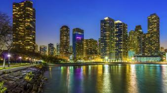 Chicago lake michigan cities city lights skyscrapers wallpaper
