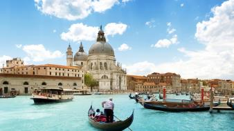 Clouds buildings boats venice gondolas italia sky sea wallpaper
