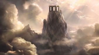 Clouds fantasy art mountains structures Wallpaper