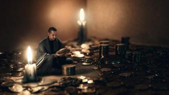 Coins men fantasy art candles wallpaper