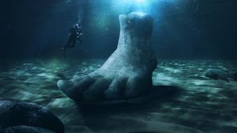 Digital art diver diving feet funny wallpaper