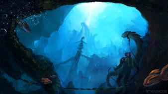 Diver fantasy art creatures artwork underwater world sea Wallpaper