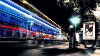 Exposure fantasia colors cities street light streaks wallpaper