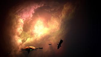 Fantastic digital art futuristic outer space red sky wallpaper