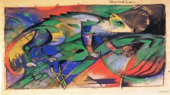 Franz marc artwork chameleons expressionism paintings wallpaper