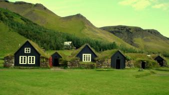 Iceland buildings grass houses landscapes wallpaper