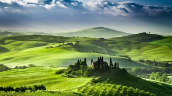 Italy tuscany green hills hillside wallpaper