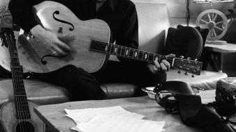 Johnny cash monochrome guitarists musicians wallpaper