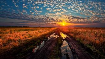 Landscapes grass sunlight mud hdr photography skyscapes Wallpaper