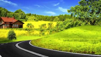 Landscapes nature roads curved wallpaper