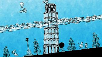 Leaning tower of pisa illustrations wallpaper