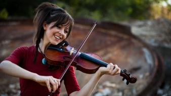 Lindsey stirling music smiling violinist violins wallpaper