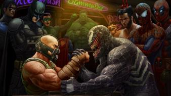 Marvel bane crossovers fan art arm wrestling wallpaper
